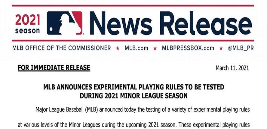 2021 Rules Experimentation Likely Impacts Baseball Tradition (In A Good Way)